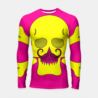 Miniature de image de yellow skull with mustache and pink background Longsleeve rashguard , Live Heroes