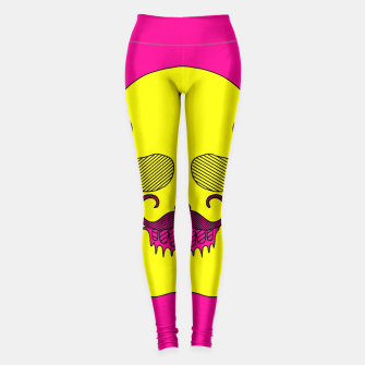 Miniature de image de yellow skull with mustache and pink background Leggings, Live Heroes