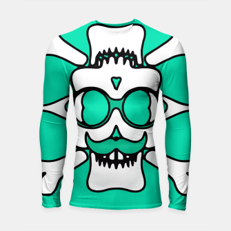 Miniature de image de white skull with glasses and mustache and green background Longsleeve rashguard , Live Heroes