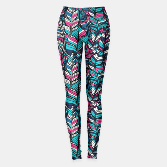 Miniatur Blue-Pink Boho Feathers Pattern Leggings, Live Heroes