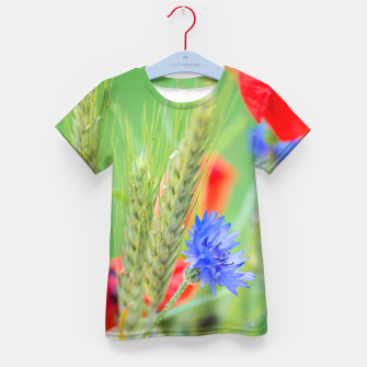 Thumbnail image of Bunch of of red poppies, cornflowers and ears of barley, wheat and rye Kid's T-shirt, Live Heroes