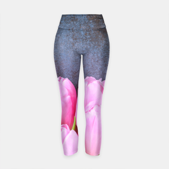 Thumbnail image of Fresh pink tulips on gray stone background Yoga Pants, Live Heroes