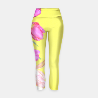 Thumbnail image of View to the multicolored tulips over yellow paper Yoga Pants, Live Heroes