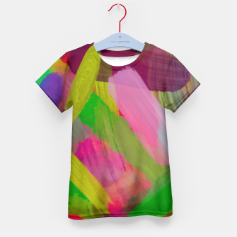 Thumbnail image of splash painting abstract texture in green pink red purple Kid's T-shirt, Live Heroes
