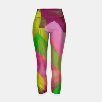 Thumbnail image of splash painting abstract texture in green pink red purple Yoga Pants, Live Heroes