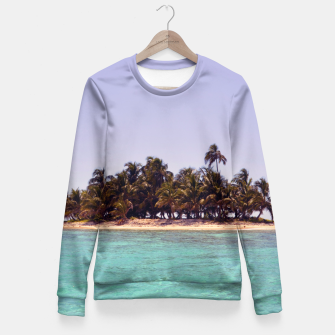 Thumbnail image of Tropical Caribbean Island Fitted Waist Sweater, Live Heroes