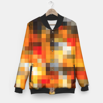 Miniatur pixel geometric square pattern abstract in orange red and black Baseball Jacket, Live Heroes