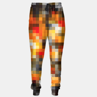 Miniatur pixel geometric square pattern abstract in orange red and black Sweatpants, Live Heroes