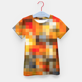 Thumbnail image of pixel geometric square pattern abstract in orange red and black Kid's T-shirt, Live Heroes