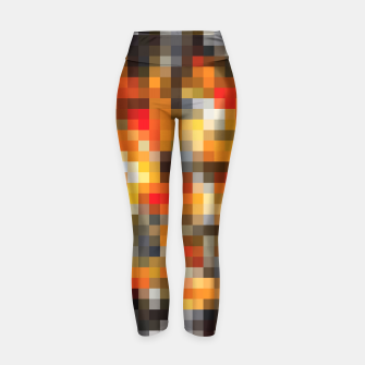 Thumbnail image of pixel geometric square pattern abstract in orange red and black Yoga Pants, Live Heroes