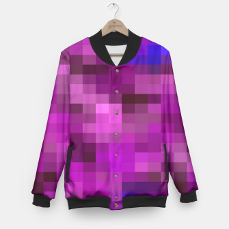 Miniatur pixel geometric square pattern abstract in purple pink and blue Baseball Jacket, Live Heroes