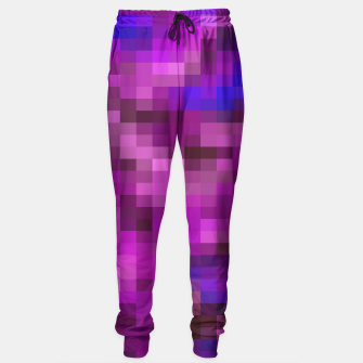 Miniatur pixel geometric square pattern abstract in purple pink and blue Sweatpants, Live Heroes