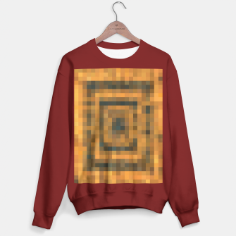 Thumbnail image of pixel geometric square pattern abstract in brown and black Sweater regular, Live Heroes