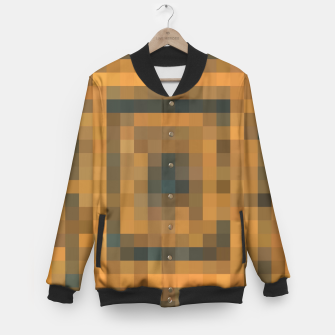 Miniatur pixel geometric square pattern abstract in brown and black Baseball Jacket, Live Heroes