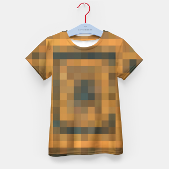 Thumbnail image of pixel geometric square pattern abstract in brown and black Kid's T-shirt, Live Heroes