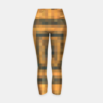 Thumbnail image of pixel geometric square pattern abstract in brown and black Yoga Pants, Live Heroes
