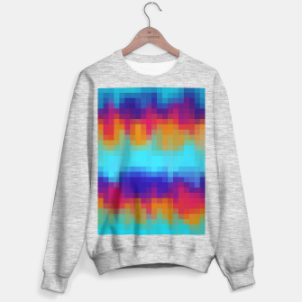 Thumbnail image of pixel geometric square pattern abstract in blue green red brown Sweater regular, Live Heroes