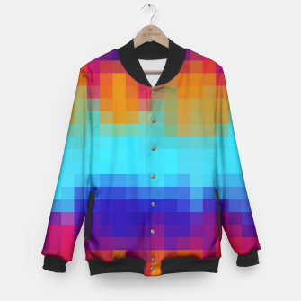 Miniatur pixel geometric square pattern abstract in blue green red brown Baseball Jacket, Live Heroes