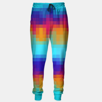 Miniatur pixel geometric square pattern abstract in blue green red brown Sweatpants, Live Heroes
