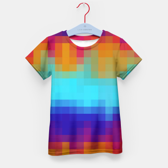 Thumbnail image of pixel geometric square pattern abstract in blue green red brown Kid's T-shirt, Live Heroes