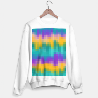 Thumbnail image of pixel geometric square pattern abstract in green yellow purple Sweater regular, Live Heroes