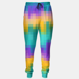 Miniatur pixel geometric square pattern abstract in green yellow purple Sweatpants, Live Heroes