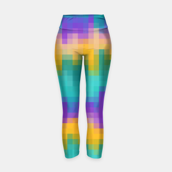Thumbnail image of pixel geometric square pattern abstract in green yellow purple Yoga Pants, Live Heroes