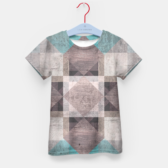 Thumbnail image of Aqua & Brown Quilt Kid's T-shirt, Live Heroes