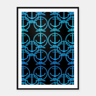 Thumbnail image of Nautical Blue Anchor Motif Framed poster, Live Heroes