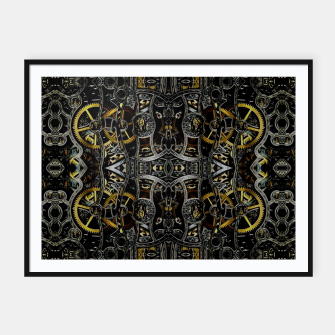Thumbnail image of Steampunk Gears Pattern Framed poster, Live Heroes