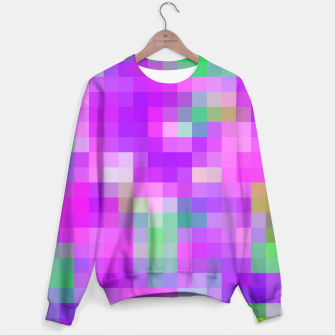 Miniatur pixel geometric square pattern abstract in pink purple green Sweater, Live Heroes