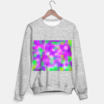 Thumbnail image of pixel geometric square pattern abstract in pink purple green Sweater regular, Live Heroes