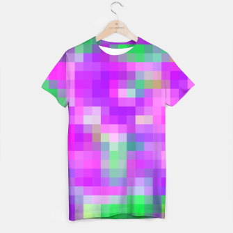 Thumbnail image of pixel geometric square pattern abstract in pink purple green T-shirt, Live Heroes