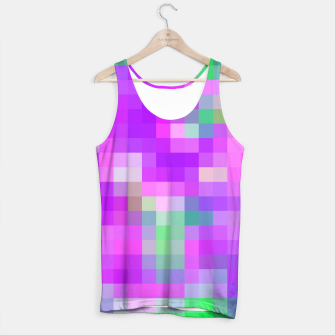 Miniatur pixel geometric square pattern abstract in pink purple green Tank Top, Live Heroes