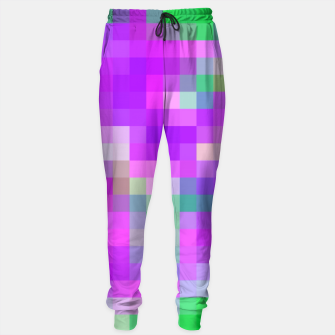 Miniatur pixel geometric square pattern abstract in pink purple green Sweatpants, Live Heroes