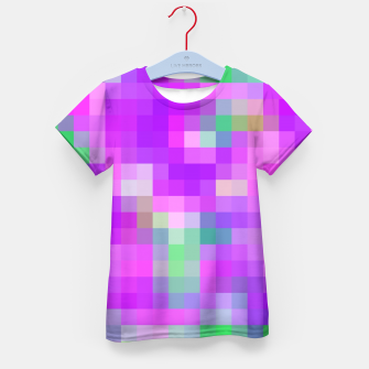 Thumbnail image of pixel geometric square pattern abstract in pink purple green Kid's T-shirt, Live Heroes