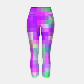 Thumbnail image of pixel geometric square pattern abstract in pink purple green Yoga Pants, Live Heroes