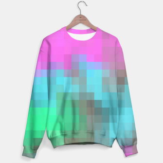 Miniatur pixel geometric square pattern abstract in pink blue green brown Sweater, Live Heroes