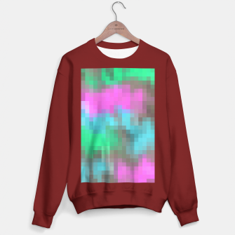 Thumbnail image of pixel geometric square pattern abstract in pink blue green brown Sweater regular, Live Heroes
