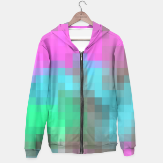 Miniatur pixel geometric square pattern abstract in pink blue green brown Hoodie, Live Heroes