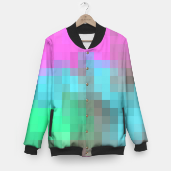 Miniatur pixel geometric square pattern abstract in pink blue green brown Baseball Jacket, Live Heroes