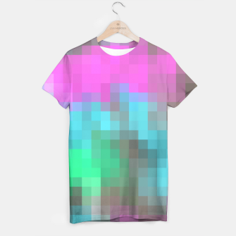 Thumbnail image of pixel geometric square pattern abstract in pink blue green brown T-shirt, Live Heroes