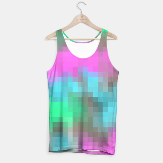 Miniatur pixel geometric square pattern abstract in pink blue green brown Tank Top, Live Heroes