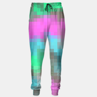 Miniatur pixel geometric square pattern abstract in pink blue green brown Sweatpants, Live Heroes