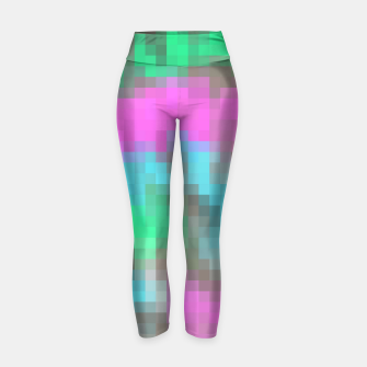 Thumbnail image of pixel geometric square pattern abstract in pink blue green brown Yoga Pants, Live Heroes