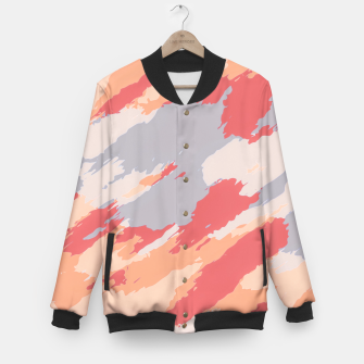Miniatur camouflage graffiti painting texture abstract in pink blue brown Baseball Jacket, Live Heroes