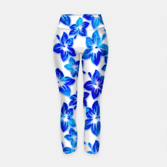 Thumbnail image of blue hibiscus Yoga Pants, Live Heroes