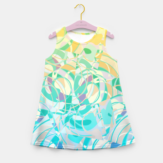 Summer Beach Days Abstract - Yellows And Blues Girl's Summer Dress thumbnail image