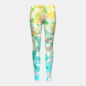 Summer Beach Days Abstract - Yellows And Blues Girl's Leggings thumbnail image