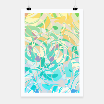 Summer Beach Days Abstract - Yellows And Blues Poster thumbnail image